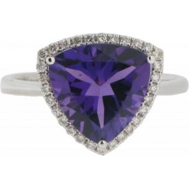 18ct White Gold Amethyst and Diamond Cluster Ring R7463AM
