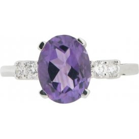 18ct White Gold Amethyst and Diamond Ring 6265AW