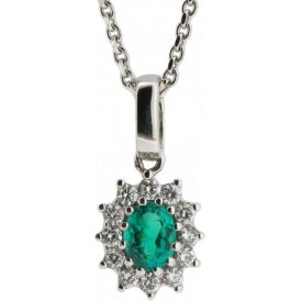 18ct White Gold Emerald and Diamond Pendant 7950EW