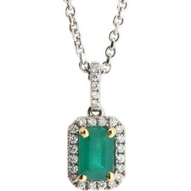 18ct White Gold Emerald and Diamond Pendant 9880EW