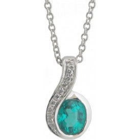 18ct White Gold Emerald and Diamond Pendant EL197