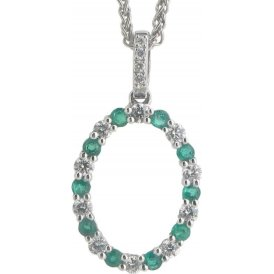18ct White Gold Emerald and Diamond Pendant V962