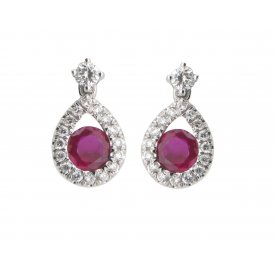 18ct White Gold Ruby and Diamond Earrings EL183