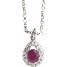 18ct White Gold Ruby and Diamond Pendant EL180
