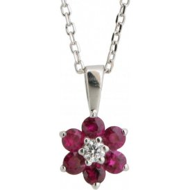 18ct White Gold Ruby and Diamond Pendant PC200B