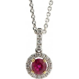 18ct White Gold Ruby and Diamond Pendant PC917