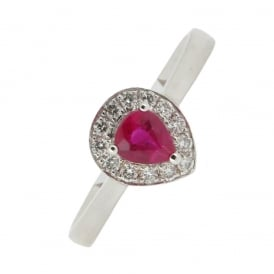 18ct White Gold Ruby and Diamond Ring ~ APRV15544/3