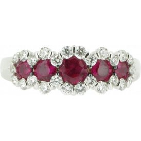 18ct White Gold Ruby and Diamond Ring N19/9795