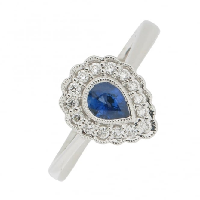 Gemstone & Diamonds 18ct White Gold Sapphire and Diamond Cluster Ring ~ EL169