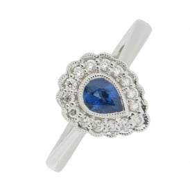 18ct White Gold Sapphire and Diamond Cluster Ring ~ EL169