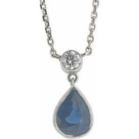 18ct White Gold Sapphire and Diamond Pendant PO470