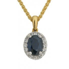 18ct White Gold Sapphire and Diamond Pendant V770