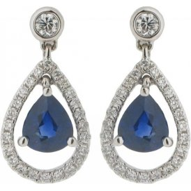 18ct White Gold Sapphire Diamond Ear Drops Y3840
