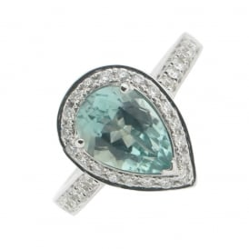 18ct White Gold Tourmaline and Diamond Ring ~ VT675