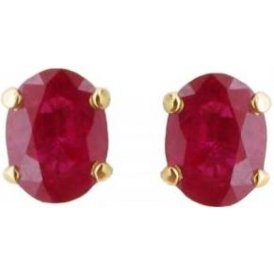 18ct Yellow Gold Ruby Earrings ESCF-N3437
