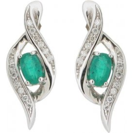 9ct White Gold Emerald and Diamond Earrings E2501