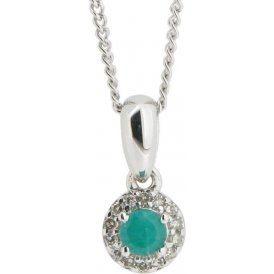 9ct White Gold Emerald and Diamond Pendant GP8759