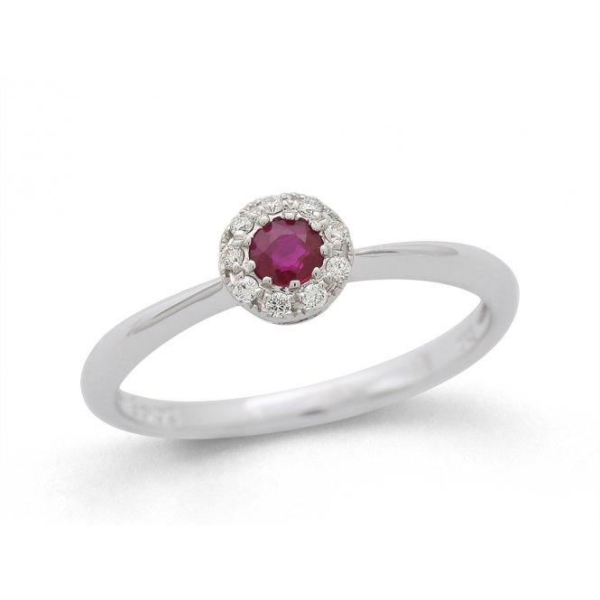 Gemstone & Diamonds 9ct White Gold Ruby & Diamond Ring ~ 32.07604.035