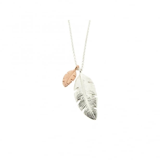 Alexis Dove Palm Leaf Pendant - Silver/Rose Gold ~ PAPLP3GVR