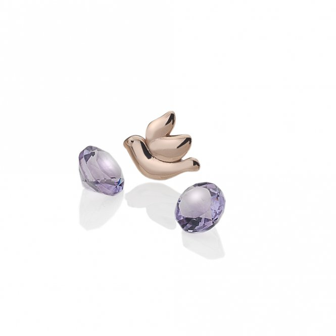 Anais Rose Gold & Amethyst Dove Charm ~ EX103