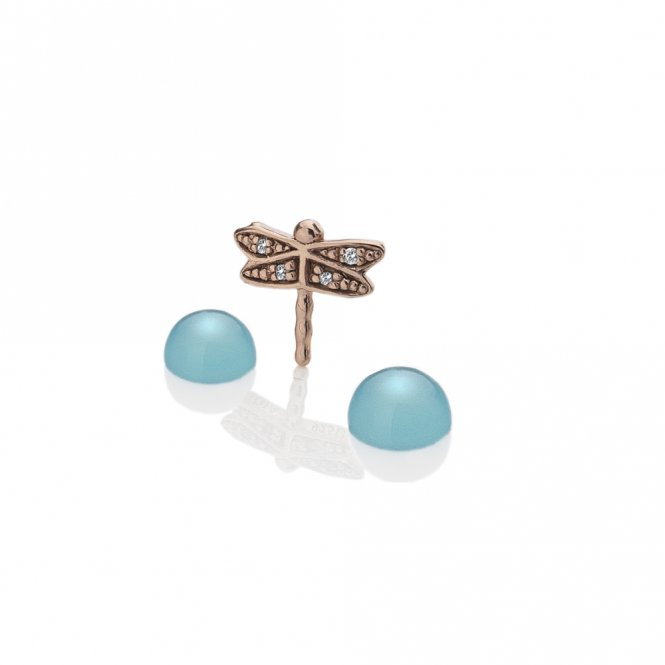 Anais Rose Gold & Blue Agate Dragonfly Charm ~ EX205