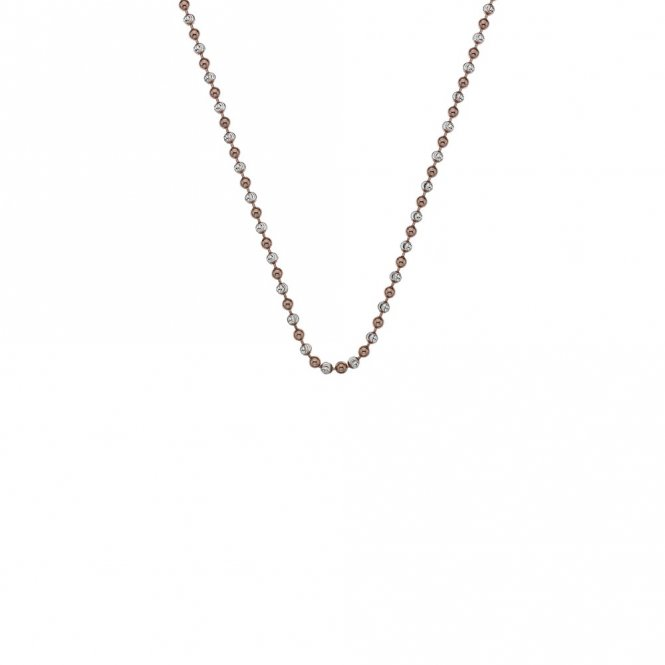 Anais Silver & Rose Gold Accent Bead Chain 18