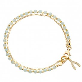 Astley Clarke Amazonite Wishbone Biography Bracelet - Gold