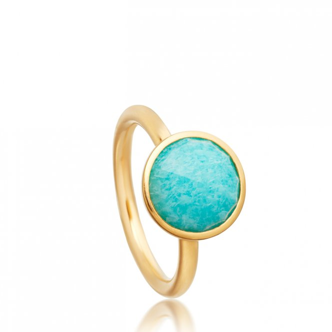 Astley Clarke Gold Amazonite Round Stilla Ring J ~ 38030YGER50