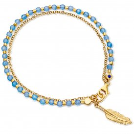 Astley Clarke Gold Blue Agate Biography Bracelet ~ 37519YBEBMD