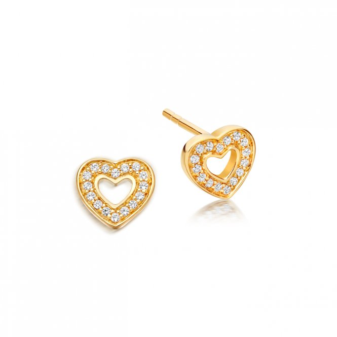 Astley Clarke Gold Mini Heart Biography Earrings ~ 38024YNOEOS