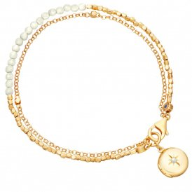 Astley Clarke Gold White Locket Biography Bracelet ~ 38001YWTBMD
