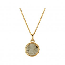 Links Of London Mini Labradorite Disc Gold Pendant ~ 5020.3252