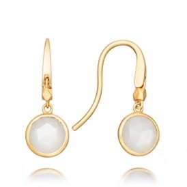 Astley Clarke Mini Moonstone Round Stilla Earrings - Gold ~ 38031YWTEOS