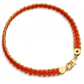 Astley Clarke Woven Biography Bracelet - Coral/Gold ~37020YCLBMD