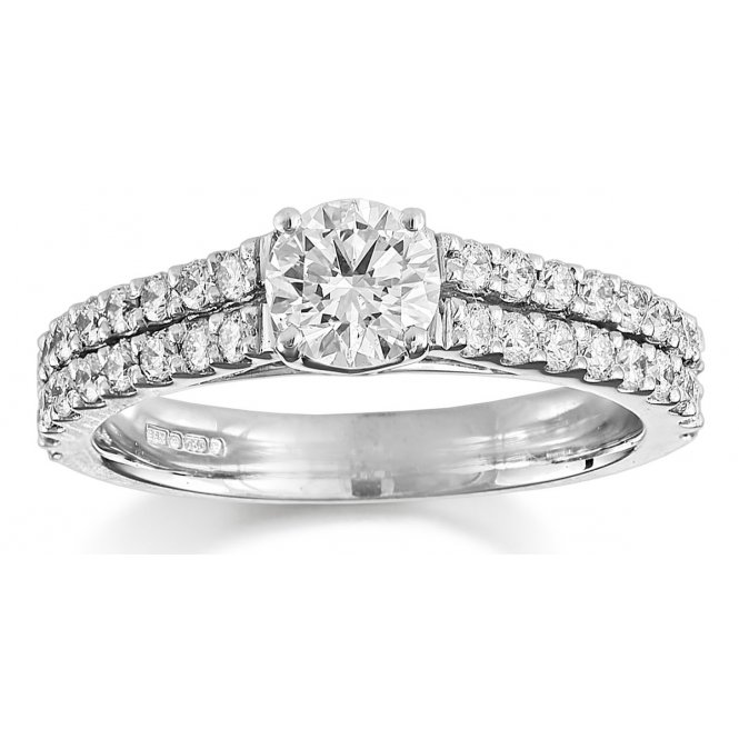 Brown & Newirth 2-Row Fancy Solitaire Diamond Engagement Ring