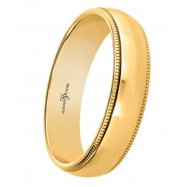 Brown & Newirth 9ct Grain Yellow Gold Fancy Court Wedding Ring V