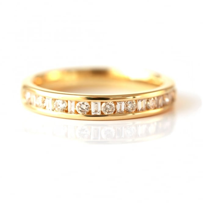 Brown & Newirth Gold Round & Baguette Diamond Half-Eternity Ring