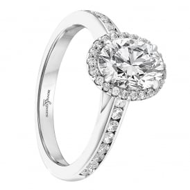 97835052797 Oval Cut Diamond Halo Engagement Ring - 1.37ct