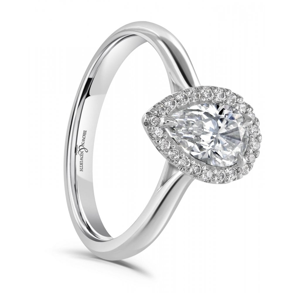 Brown Newirth Pear Shaped Diamond Halo Engagement Ring 0 59ct Engagement And Wedding From Sarah Layton Jewellery Uk