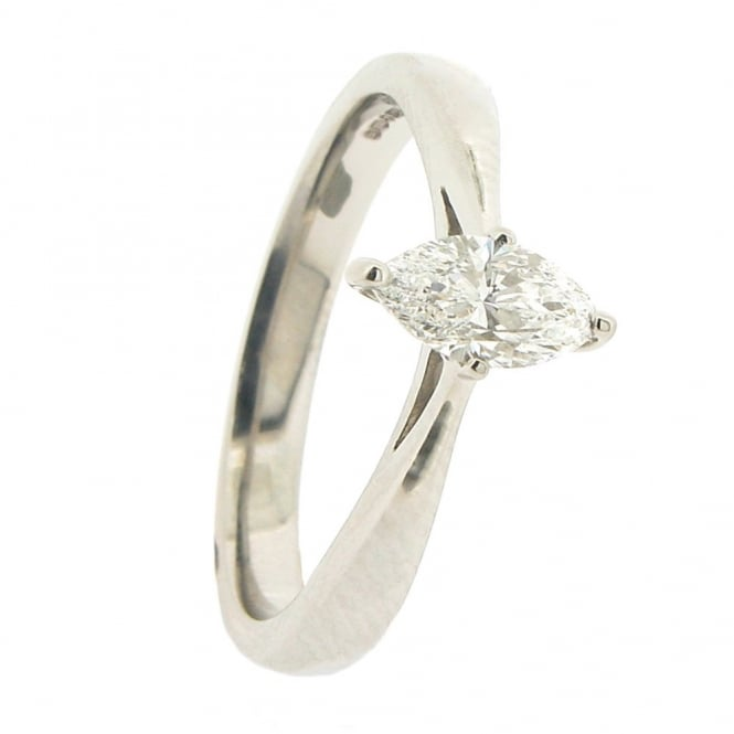 Brown & Newirth Platinum Solitaire Marquise Diamond Ring