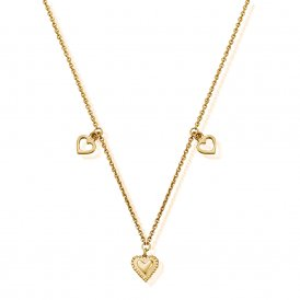 ChloBo Cherabella Graceful Hearts Necklace - Gold ~ GNTH847