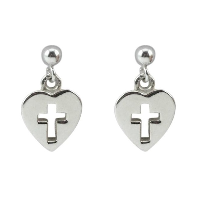 ChloBo Cloud9 Cross in Heart Earrings