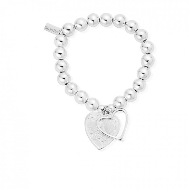 ChloBo Medium Ball Open & Decorated Heart Bracelet ~ SBMB028042