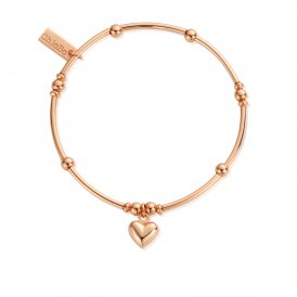 ChloBo Mini Noodle Ball Puffed Heart Bracelet - Rose Gold ~ RBMN065