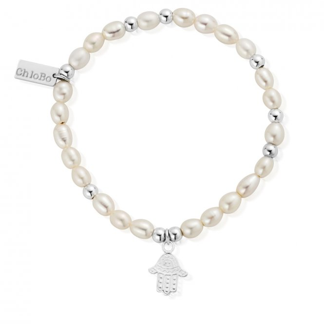 ChloBo Pearl Decorated Hamsa Hand Mini Bracelet