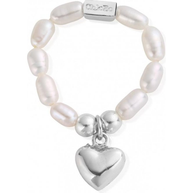 ChloBo Pearl Puffed Heart Ring Medium ~ SRP2023