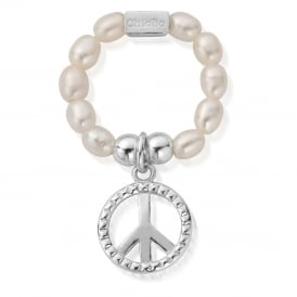 ChloBo Pearl Stud Peace Ring - Silver - Medium ~ SRP2124