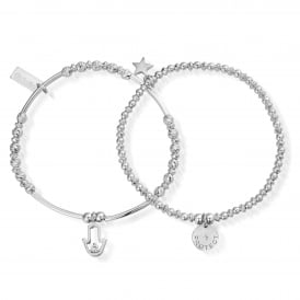 ChloBo Protection Bracelets - Set of 2 - Silver ~ SBSET464