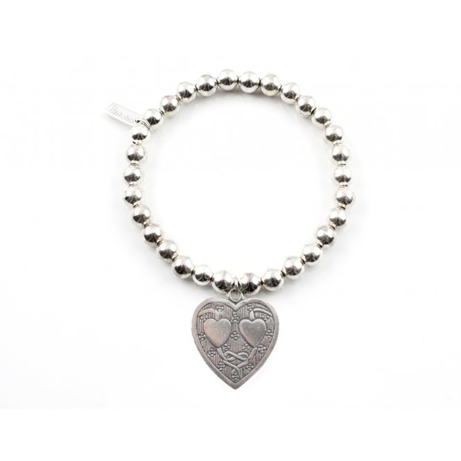 ChloBo Silver Iconic Small Ball Decorated Heart Bracelet