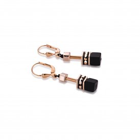 Coeur De Lion Geo Cube Black Rose Gold Earrings